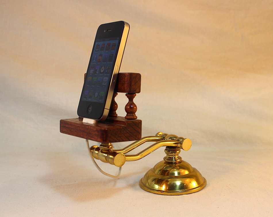 iPhone - iPod - Dock - Sync and Charging Station- Oak - Wing Arm Style- Adjustable (Yes for the iPhone ) OOAK