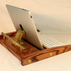 iPad Workstation - Keyboard - Tablet Dock - Steampunk V1- Oak - iPad, IPhone, Tablet Bluetooth Keyboard Computer Desktop Workstation