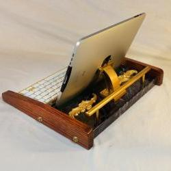 iPad Workstation - Keyboard - Tablet Dock - Victorian Marble Steampunk - Oak - Desktop Workstation