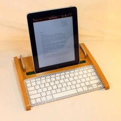 iPad Workstation - Keyboard - Tablet Dock - Golden Oak - iPad, IPhone, Tablet Bluetooth Keyboard Computer Desktop Workstation