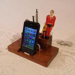 iPhone - iPod Dock -Charger and Sync - Desktop Station with pen holders - Oak