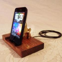 HTC - EVO - Incredible - Droid - Smartphone - Charger and Sync Station - Custom Built Dock - Oak - Brass style V1