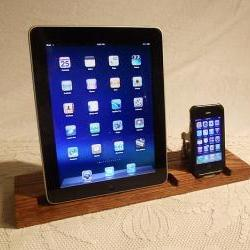DUAL Unit - iPad - iPhone - iPod - Dock - Sync and Charging iDock Station- Custom Built Oak Model..